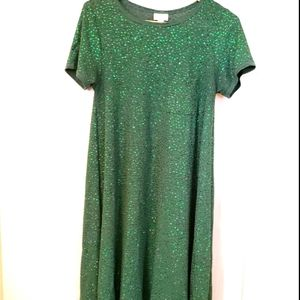 Small Green Sparkle Pocketed High Low Carly Dress